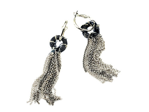 Metal tassel & jeans Earrings
