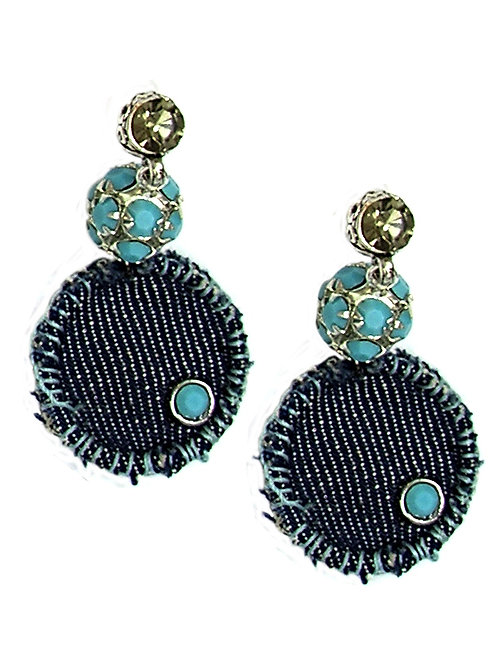 Turquoise & Denim Earrings