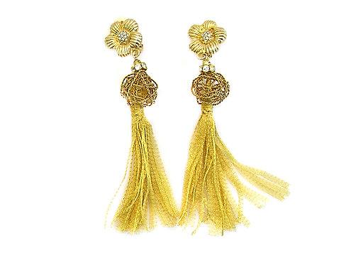 Gold Metal Flower Earrings