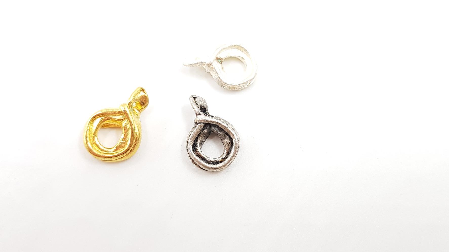 319- אלמנטים מתכת מעוצבים עבודת יד. כסף,זהב וכסף -ענתיק 3 יח'