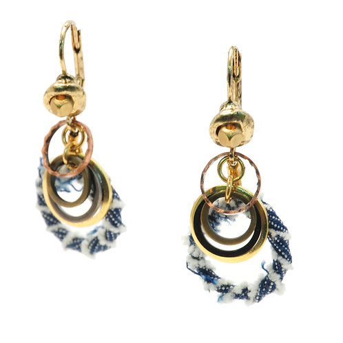 Denim and metal earrings