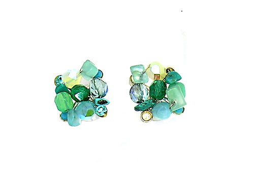 blue and green natural stones and beads earrings