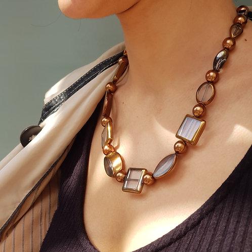 Bronze Geometric Beaded Necklace