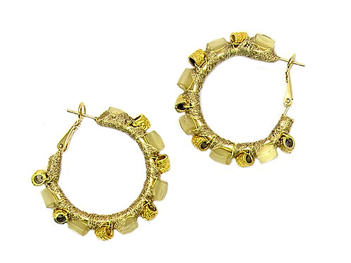 Gold metal & crystal beads Earrings