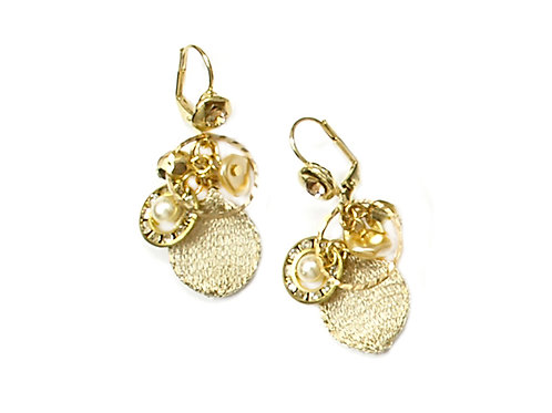 gold stones and crystal earrings