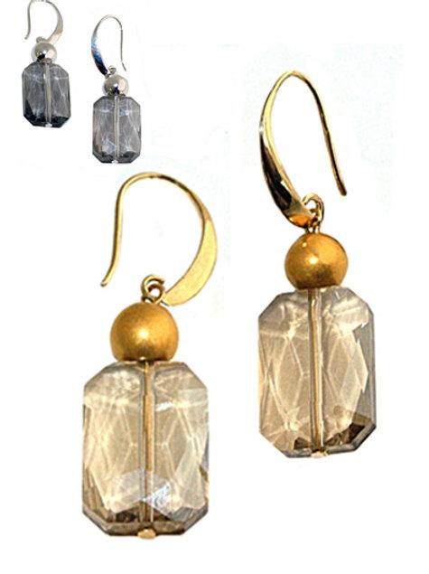 Rectangular faceted crystal Earrings
