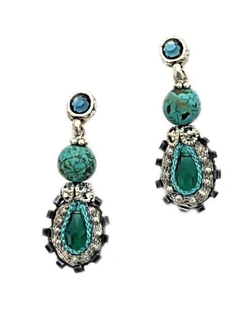 Turquoise beads & Black Earrings