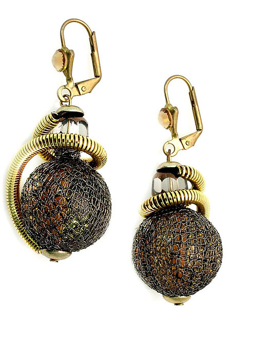 bronze and gold eclectic beads earrings