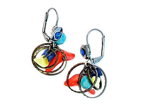 Round Color beads Earrings