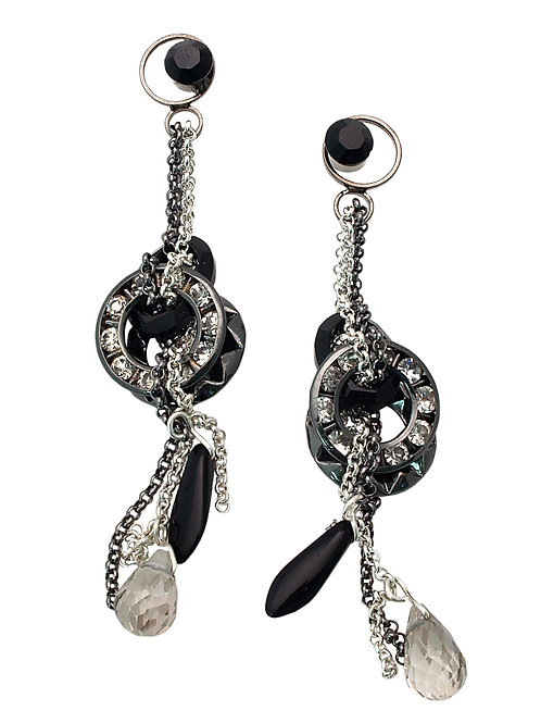 Black Swarovski crystal and rhinestones Earrings