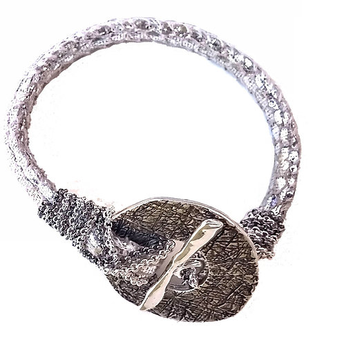 silver metal textured element bracelet