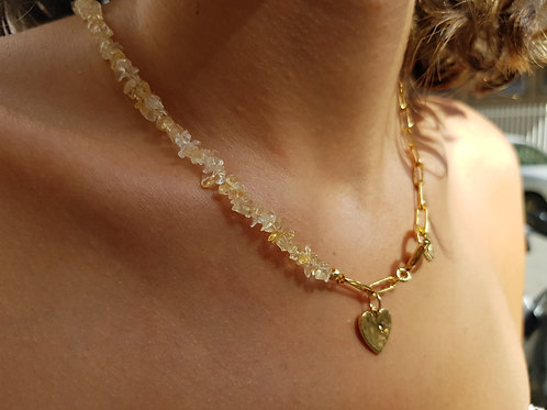 Tiny Natural Citrine Stones and half Gold link chain with heart gold