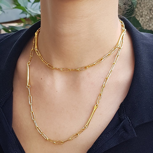 Vintage Gold Chain Necklace Decorated with 4 Bars