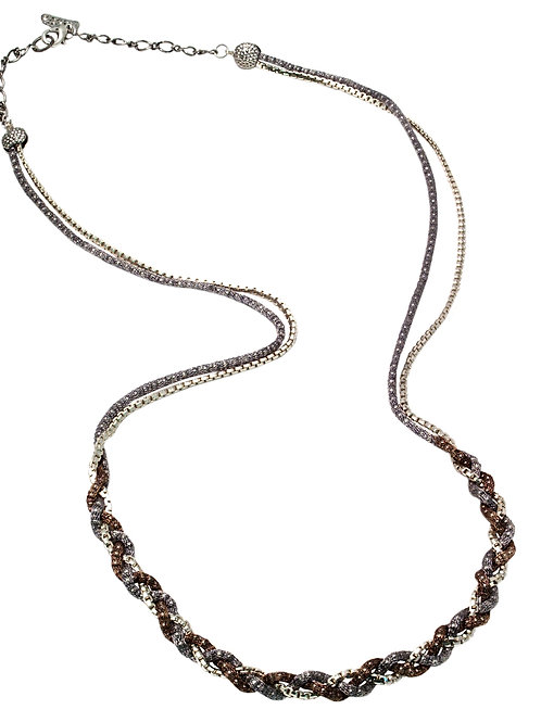 Brown & silver Necklace