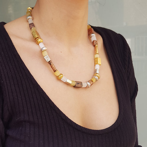Asymmetrical Vintage Beaded Necklace