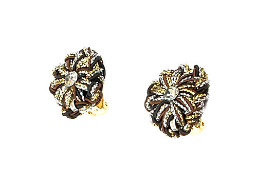 silver gold and brown cords earrings
