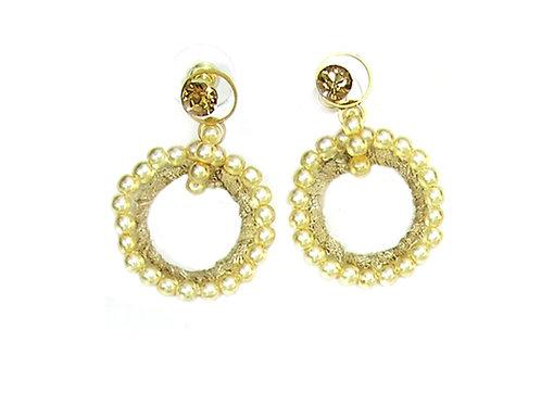 gold Hoop Pearls Earrings