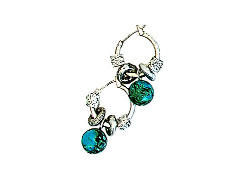 green glass beads and metal elements earrings