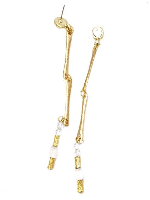 gold metal bars and czech beads earrings