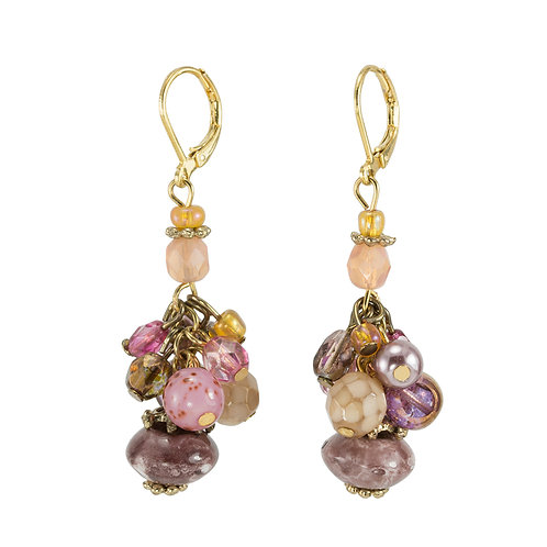 natural pink beads earrings