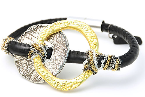 Metal plated textured elements Bracelet