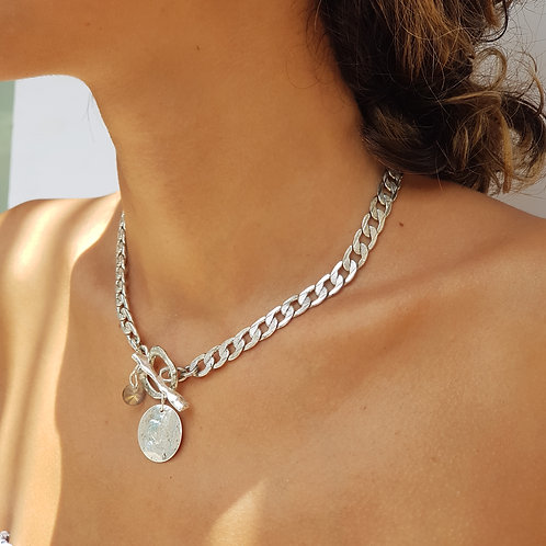 Silver antique  gormet chains choker with Toggle & coin
