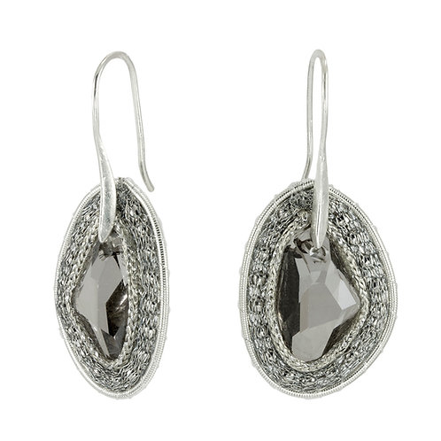 black Swarovski crystals rock earrings