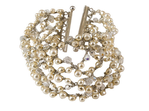 Glass pearls & crystal beads Bridal  Bracelet