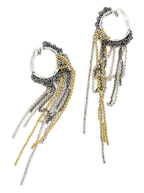 mix chain gld and silver tassel earrings