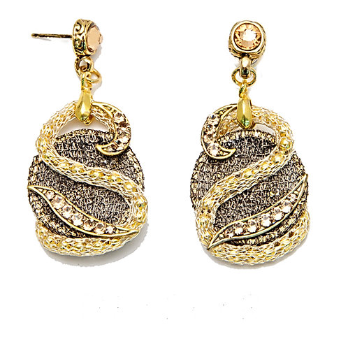 gold Sterling silver italian mesh and Swarovski crystals Earrings