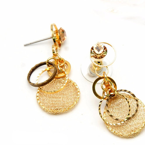 gold mesh and metal earrings