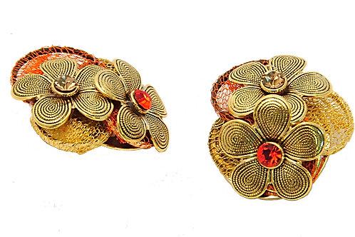 orange and gold flower earrings