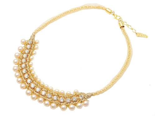 Gold Pearls and crystals Necklace