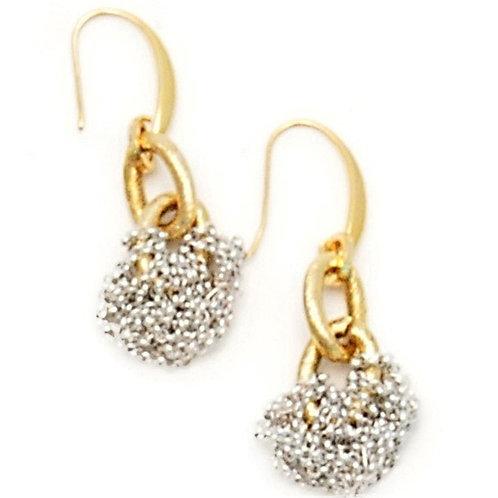 Knots of silver metal chain earrings