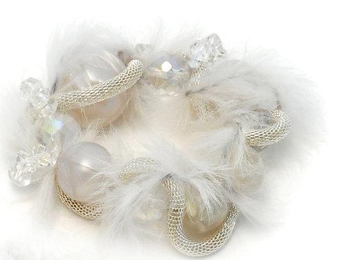 White fur bridal Bracelet