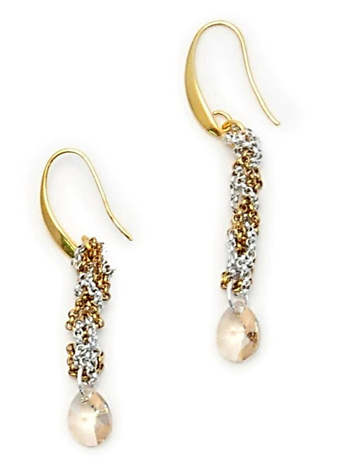 braided chain and swarovski crystal earrings