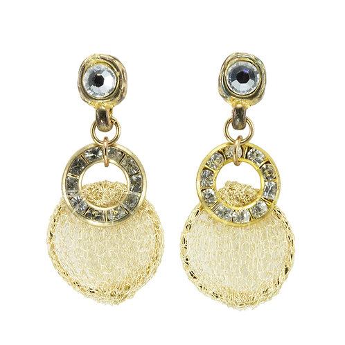 Swarosvki crystal and rhinestones gold earrings