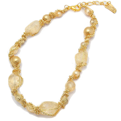 crystals, pearls and silver mesh necklace
