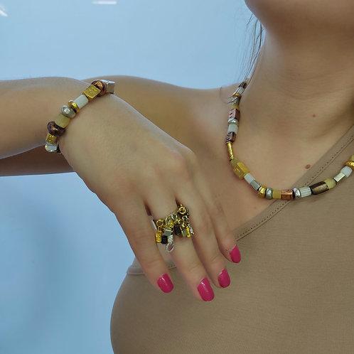Asymmetrical Vintage Beaded Jewelry Set