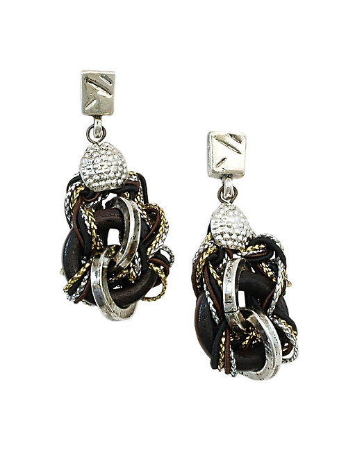 black knots of cord earrings