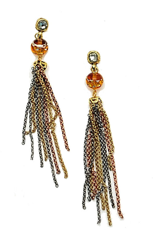 Mix metal chain tassel with Swarovski crystals earrings