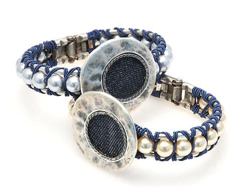 Denim & Pearls Bracelet