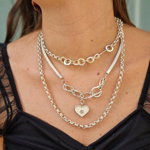 Silver Necklace Set With Heart Pendant and Chunky Chain