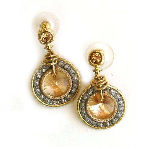 Round gold Swarovski Earrings