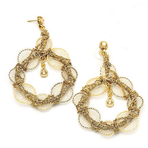 big round swarovski crystals and mesh gold earrings