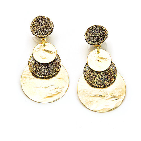 Metal plated coins and mesh earrings