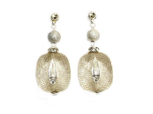white glass crystal earrings