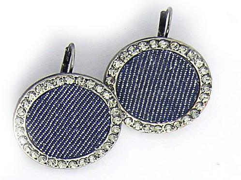 jeans and rhinestones earrings