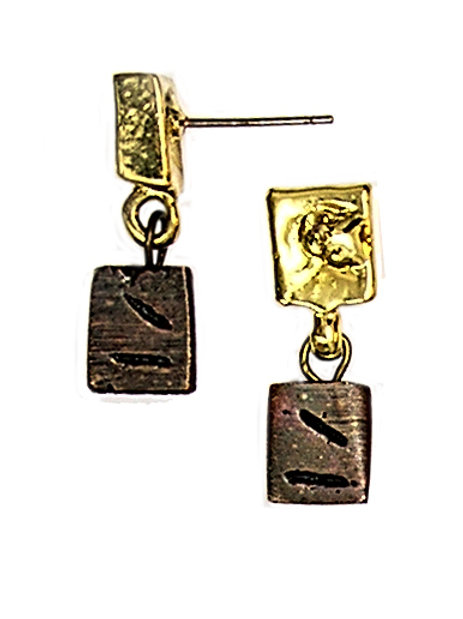 gold and bronze metal cubes earrings