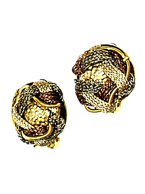 braided cord button earrings